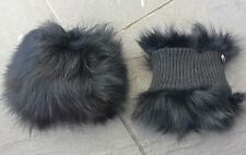 one pair of jet black real genuine fox fur cuffs nylon lining pull string coat
