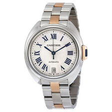 Cartier Cle  Automatic Silver Dial 18kt Rose Gold and Stainless Steel Ladies