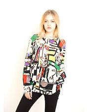 Lady multi color stripe floral tile print long cotton oversize jumper top