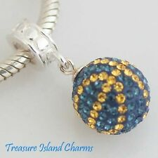 BASKETBALL BLUE CRYSTAL .925 Sterling Silver EUROPEAN EURO Dangle Bead Charm