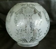 Victorian Art Nouveau Acid Etched Oil Lamp Globe Shade Flora Flowers Duplex 4""
