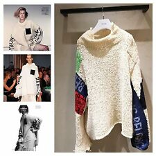 "$7000 MASTERPIECE  ** CELINE CHUNKY KNIT SHOWPIECE ""BELONG"" SWEATER JUMPER (XS)"