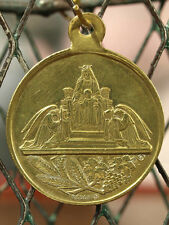 ANTIQUE FRENCH RELIGIOUS First COMMUNION MEDAL SIGNED Our Lady Angel