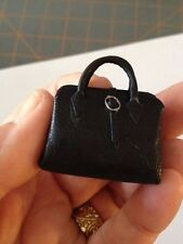 Dollhouse Miniature REAL Leather DOCTOR'S BAG - Black Leather Handcrafted