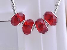 10pcs 15x9mm Lampwork Glass Faceted European Charm Loose Big Hole Beads Red New