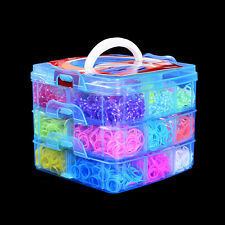 5400 x Colourful Rainbow Rubber Loom Bands Bracelet DIY Making Kit With S-Clips