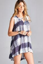 Steel Gray Flowy JODIFL Boho Hippie Sleeveless FLARE Gypsy Tie Dye Tunic Dress L