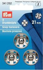 Prym 3 Druckknöpfe zum Annähen 21 mm silberfarbig 341252