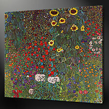 "GUSTAV KLIMT SUNFLOWERS CANVAS WALL ART PICTURES PRINTS 24""x24"" FREE UK P&P"