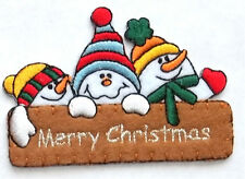 Snowman - Snowmen - Merry Christmas - Embroidered Iron On Applique Patch