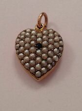 Delightful Victorian Romantic 15ct Gold Pave Set Seed Pearl & Sapphire Heart