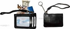Lot of 2 Leather Change Purse, Black keyring, purse, Mini Wristlet, Coin case bn