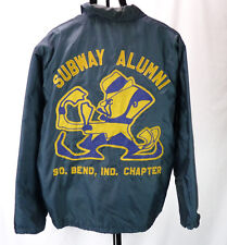 Vintage 70s University of Notre Dame Blue Nylon Satin Jacket Subway Alumni XL