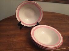 "Gibson China ""ROSE PETAL""  Pink Rim ~ Set of 4 ~ Soup Bowls ~ 7"""