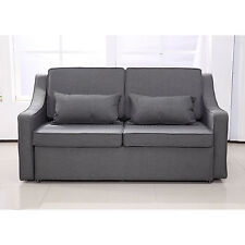 Sofa Bed Convertible Linen Lounge Sleeper Couch Adjustable Living Room Furniture