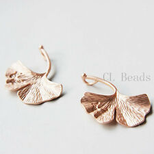 2pcs Matte Rose Gold Plated Base Metal Charms-Ginkgo -Right Side (69C-S-76)
