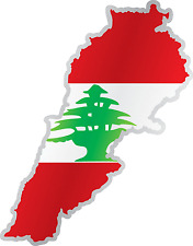 "Lebanon Country Flag Map Car Bumper Window Mirror Sticker Decal 3""X6"""