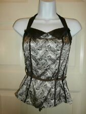NWT NEW BEBE TOP SPANDEX SATIN SILK SMALL HALTER BELTED