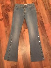 Miss Sixty Jeans Low Rise Flares With Stud Fastening To The Legs Size 10 Hippie