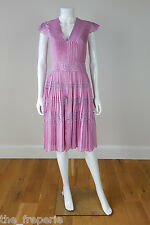 *TEMPERLEY LONDON* 100% SILK PLEATED LACE TRIMMED LILAC SUMMER DRESS (10)