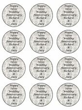 "12 x Silver Wedding Personalised  2"" PRE-CUT PREMIUM RICE PAPER Cupcake Toppers"