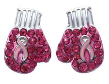 Support Breast Cancer Awareness Pink Ribbon Boxing Glove Stud Post Earrings e10s