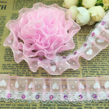 NEW 3 Yards 2-Layer 30mm Pink Organza Lace Gathered Pleated Sequined Trim 041#