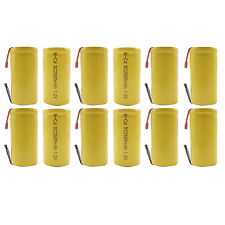 12PCS Sub C 2500mAh 1.2V Ni-CD Rechargeable Battery Tabs Power Tools Pack Yellow