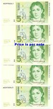 GERMANY 5 DEUTSCHE MARK 1991 - P-37 - GEM CRISP NEW - ONE NOTE OF 5 CONSECUTIVE