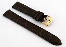 New Genuine Leather Brown Band with Gold Buckle for Omega Watches 18mm