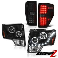 """""""SINISTER BLACK"""" LED Tail Light Halo Projector DRL Headlight 2009-2014 Ford F150"""