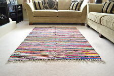 Chindi Rag Rug Shabby Chic Handloom Recycled Cotton 150x210cm 5x7ft handmade
