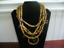 """Vintage Chico's 4 Strand Brass Green Brown Wood Bead Brass Dangles 20"""" Necklace"""