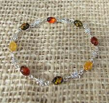 Cognac Lemon Green Baltic Amber Sterling 925 Silver Bracelet Jewellery
