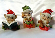 Vintage Elf Figurines Set of 3 Bisque Porcelain Christmas Homco