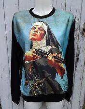 Vintage B Movie Nun and Gun Sweater - Size 10 12 14 16 - Jumper Top Long Sleeve