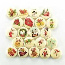 100 Pcs Mixed Christmas Pattern 2 Holes Wood Buttons Sewing Scrapbooking 15mm