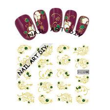 20 Nail Art Stickers Water Transfer-Adesivi FIORI Bianchi-decorazioni d'Oro!!