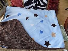 Circo Target Stars Baby Blanket Brown & Blue Minky Velour Sherpa Fleece Lovey