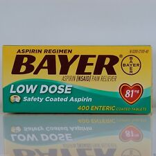 Bayer Low Dose Aspirin Regimen 400 Tablets 81 mg enteric coated, Exp 05/2018