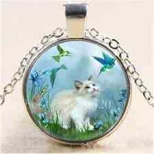 Cat With Hummingbird Cabochon Glass Tibet Silver Chain Pendant Necklace