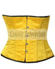 Shaper Cincher Taillen Sexy Full Steel Bone Spiral Waistbust Yellow Satin Corset