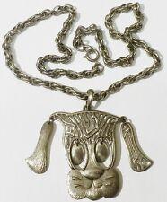 pendentif+chaine tête de chien partie mobile couleur argent rodhier * 297