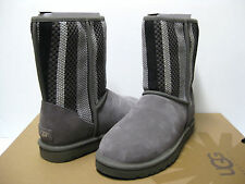 Ugg Classic Short Woven Texture Charcoal Women Boots US8/UK6.5/EU39
