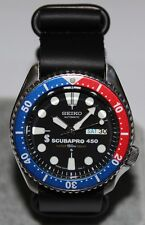 SEIKO 6309-729A Vintage Pepsi Scubapro 450 Diver's Watch Automatic Leather Strap