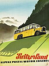 ART PRINT POSTER TRAVEL SWITZERLAND ALPINE POSTAL COACH BUS NOFL1378
