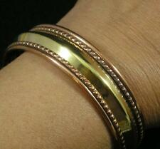 Copper Brass Two Color Central Dome Cuff Bangle Bracelet Large Mens Womens