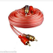 5M RCA Cable Car Amp Lead [RCA-ST5] 5 Metre Oxygen Free Clear Phono Lead