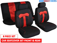 UNIVERSAL 8 PIECE BLACK & RED FULL CAR SEAT COVERS PROTECTORS FRONT & BACK 5504R