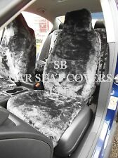 TO FIT A TOYOTA STARLET CAR, SEAT COVERS, BLACK FAUX FUR 2 FRONTS